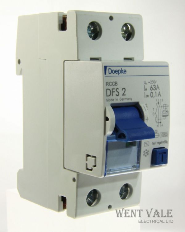 Doepke DFS 2 63-2/0.1 - 63a 100mA Double Pole RCCB New